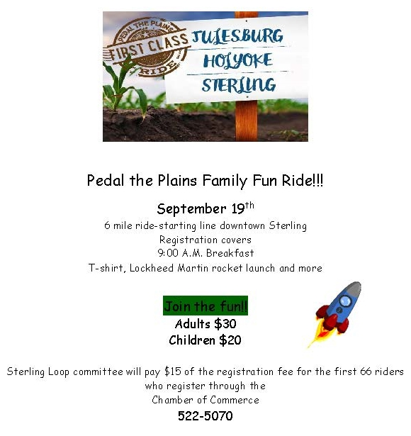 Pedal the Plains Family Fun Ride one page flyer PDF