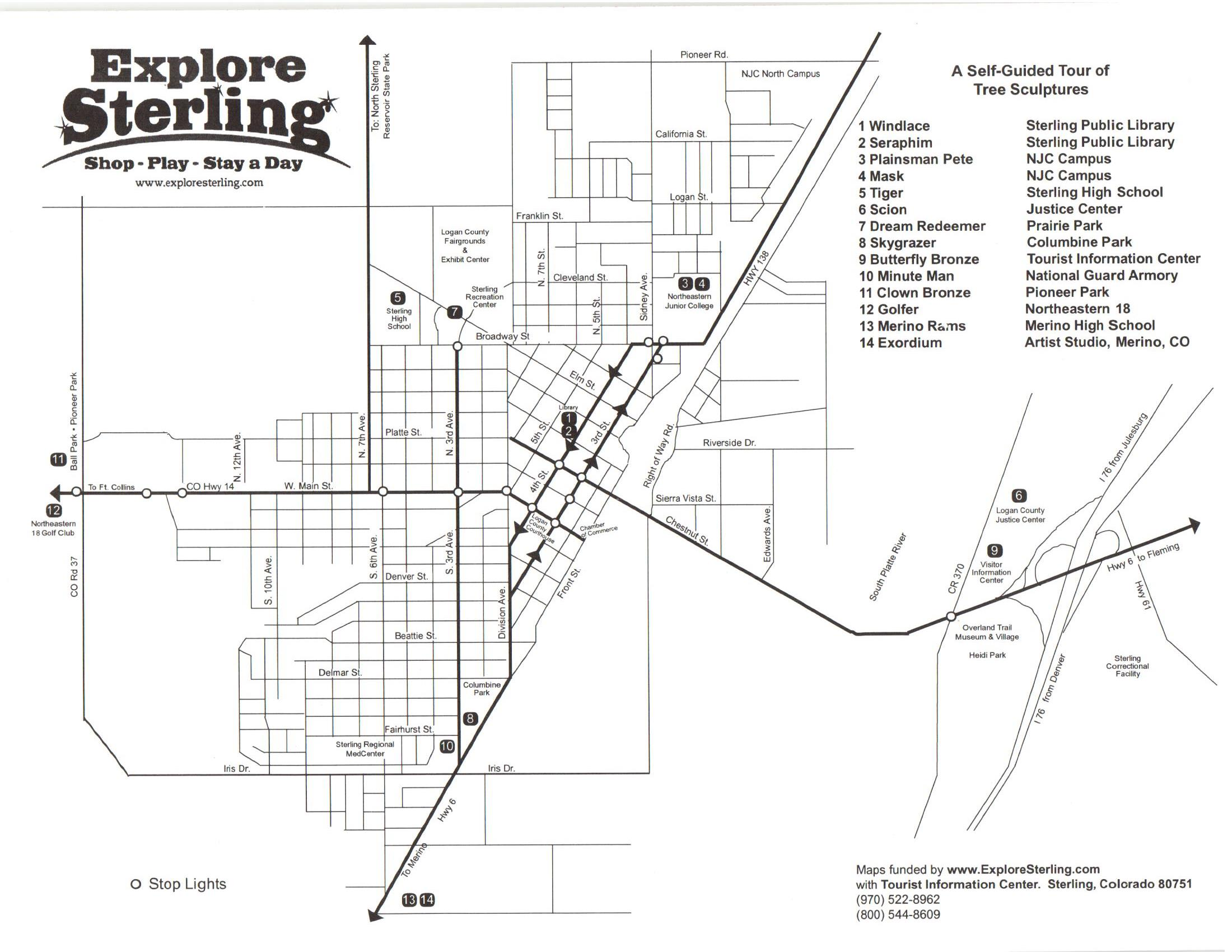Sterling Colorado Map Public Sculptures